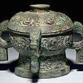 A very rare bronze ritual food vessel and cover,<b>gui</b>, Early Western Zhou dynasty, 12th-11th century BC