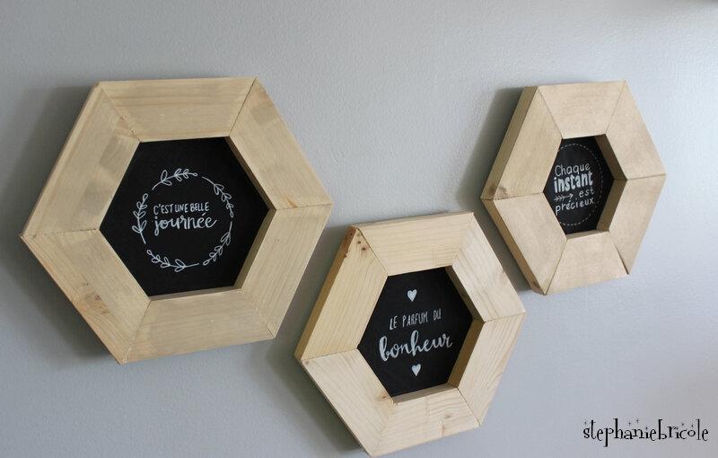 "DIY DECO - cadres ""ardoise"" hexagones en bois"