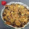 Tarte aux <b>pommes</b> de terre et champignons rôtis