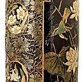 Laurent <b>Bouvier</b> (1840-1901). Important vase rouleau en terre vernissée à col cylindrique
