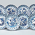 A set of ten blue and white moulded dishes, <b>Circa</b> <b>1660</b>-80