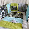 Tour de lit et nid d'ange vert anis et turquoise pour un baby à naître en décembre! (créations vendues)