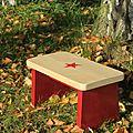 Petit banc en pin rouge étoilé 47 €