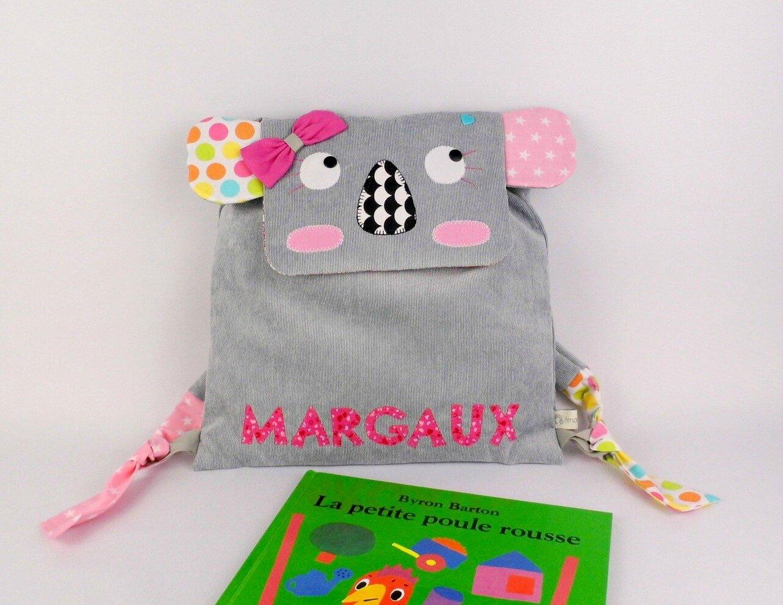Sac à dos bébé koala personnalisé prénom Margaux gris rose multicolore sac école maternelle fille baby koala backpack personalized name grey pink