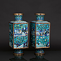 A very rare pair of magnificent cong cloisonné vases, china, qing-dynasty (1644-1911)