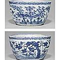 A Rare Blue And White Jardinière. Late Ming Dynasty, <b>16th</b>-<b>17th</b> <b>Century</b>