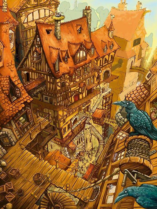 000-La-Cite_medieval_illustration_collombage_carobeau_heroic_fantasy_ville_maxime_brienne_paynt_dessinateur