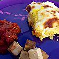 Polenta gratinée, tofu à la sauce tomate