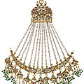 A jewelled head ornament (jhumar) with <b>seed</b>-<b>pearls</b>, India, Lucknow, 19th-20th century