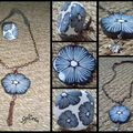 Sautoir fleur grise