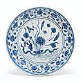 A blue and white '<b>lotus</b> bouquet' dish, Yongle period (1403-1425)