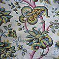 2161 - vintage tissu ancien marignan 59 x 125