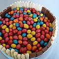 Gâteau m&m, chantilly framboise chocolat!