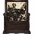 A rare and large dali marble-inset zitan <b>table</b> screen, 19th century