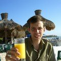 Playa del Carmen - Enjoying an orange juice a few hours before h