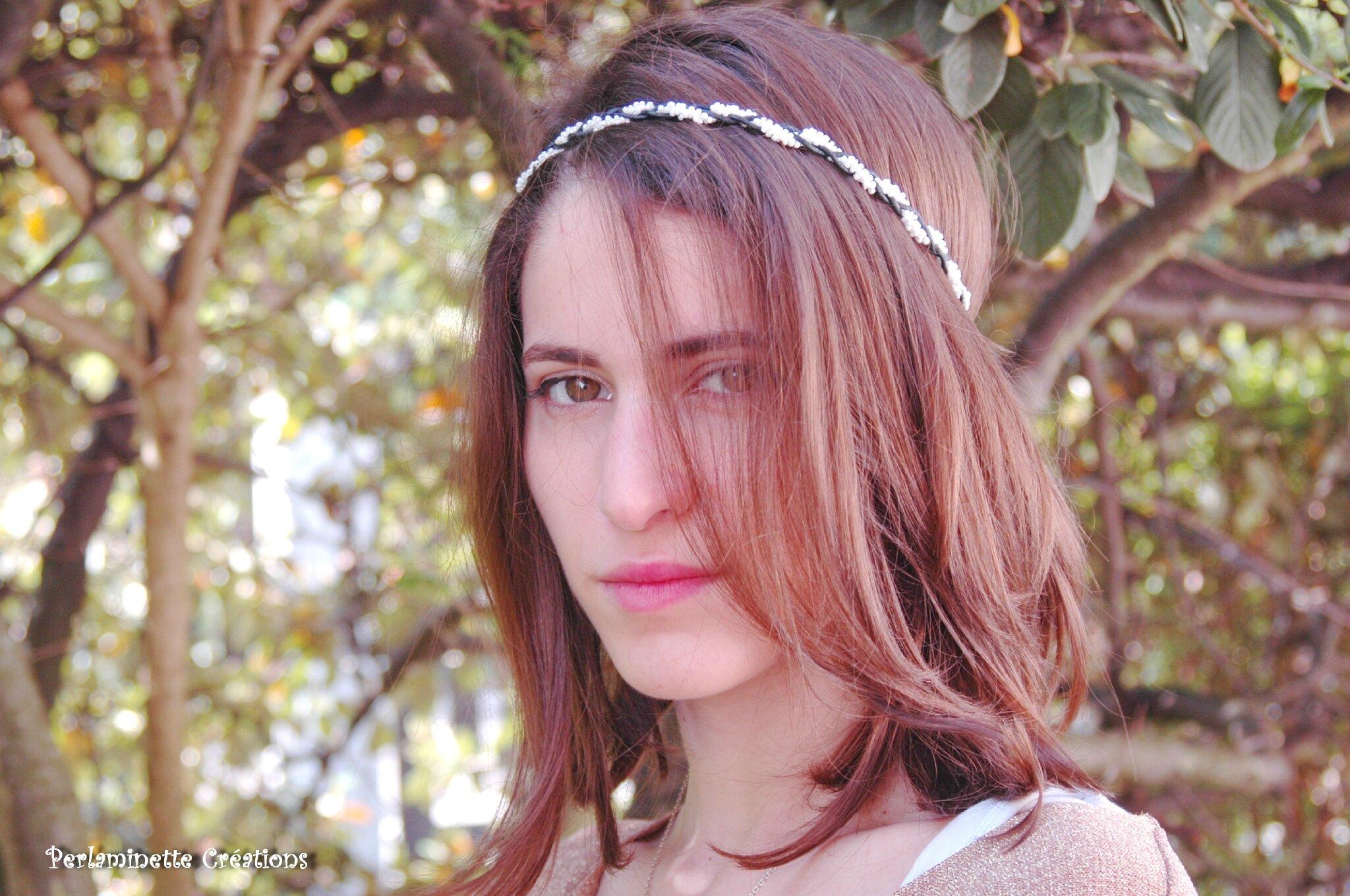 Headband serre tête noir et blanc