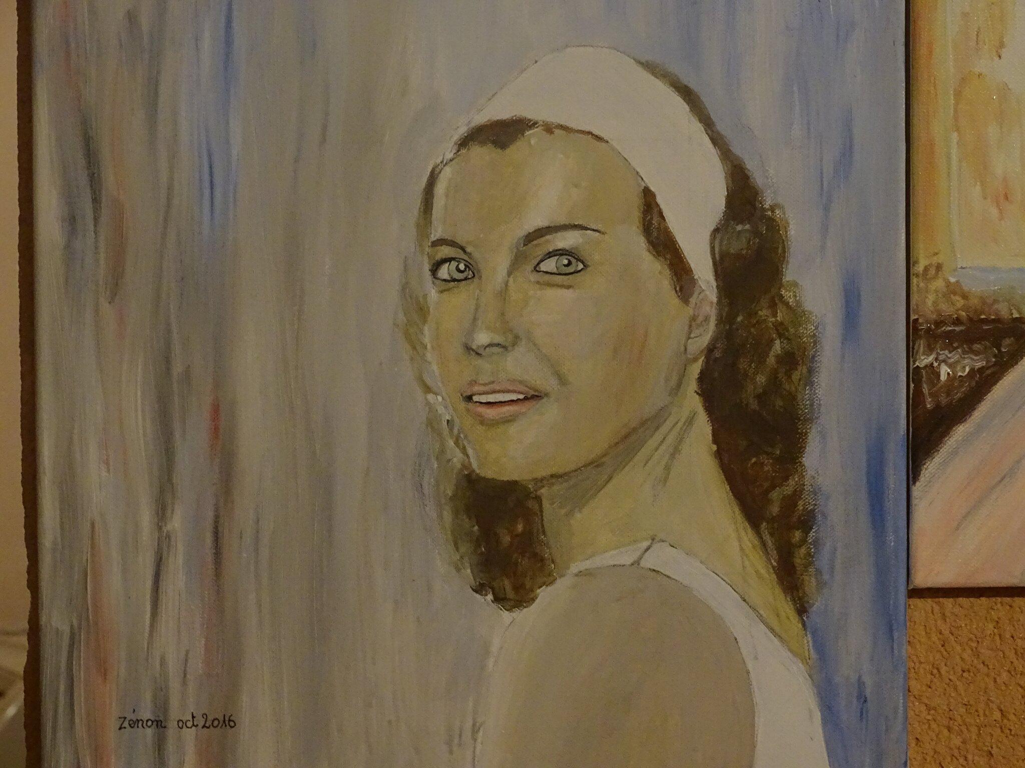 -Peinture de Romy Schneider portrait dim 40x50cm