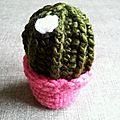 Cactus vert foncé en pot rose #cpf00001239