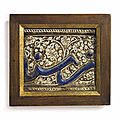 A moulded lustre and cobalt-blue pottery border tile, Kashan, Central Iran, 13th-<b>early</b> <b>14th</b> <b>century</b>