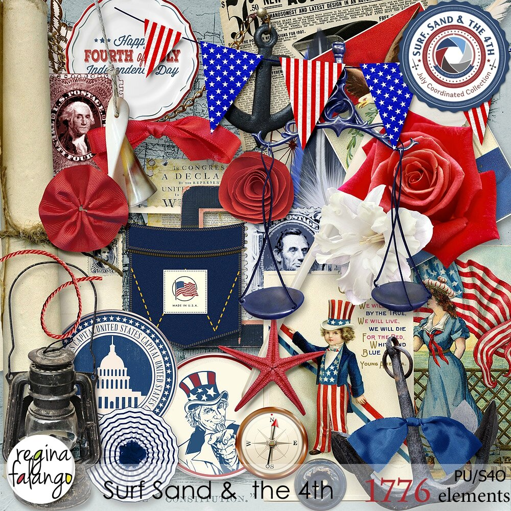 COLLECTION SURF SAND AND THE 4 TH 100 % MADE IN USA