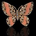 Van cleef & arpels paris, circa 1980. coral, onyx and diamond butterfly design brooch-pendant