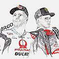 Dessin portrait de personnalités sportives : Johann Zarco & Fabio Quartararo... pour les fans de MotoGP