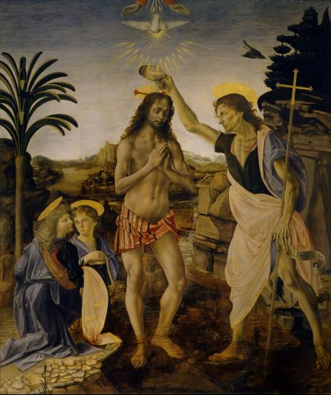 Baptème du Christ par Verrocchio