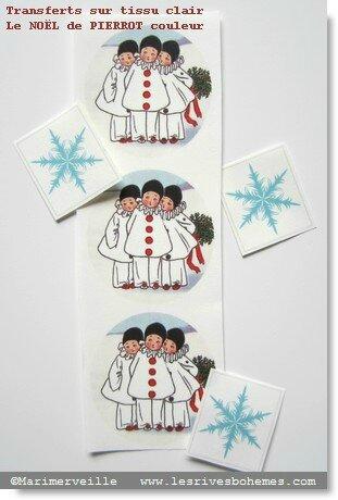 Pochette couleur transferts le Noël de pierrot & flocons marimerveille