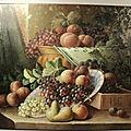 Tableau Peinture <b>Nature</b> <b>Morte</b> aux Fruits XXème Signée Russell