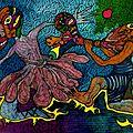 ATEK 2011 Colombine Encres & Aquarelles sur toile 35x25cm