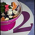 Salade de chou rouge à la fourme et aux clémentines