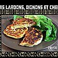 Blinis lardons cheddar oignons