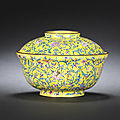 An imperial yellow-enamel on copper bowl and cover. qianlong