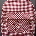 sac à dos carreaux rouge et blanc