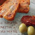 Quadrilogie de cakes salés (poulet-curcuma ; tomates confites - olives vertes ; jambon fumé mozza et olives ; jambon - moutarde)