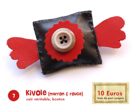7/ Broche Kivole (marron & rouge)