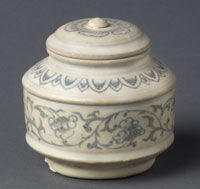 Covered Box, Vietnam, 15th - 16th century. Artist/maker unknown, Vietnamese. Stoneware; underglaze decoration, 3 1/4 x 3 inches (8.3 x 7.6 cm) 1970-135-1a,b. Gift of Mabel Steele Jones and her friends of the Philadelphia Museum of Art, 1970. Philadelpjia M