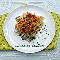 Lasagnes au <b>chou</b>-fleur, petits pois, jambon de Paris