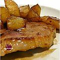 ..côte de porc caramélisée aux pommes et 5 épices..