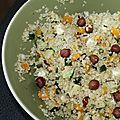 Salade de quinoa, courgettes, potimarron, feta, noisettes et miel!