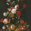 <b>Cornelis</b> Jansz. de Heem, A still life of roses, poppies, lillies and other flowers in a glass vase on a marble shelf; beneath a