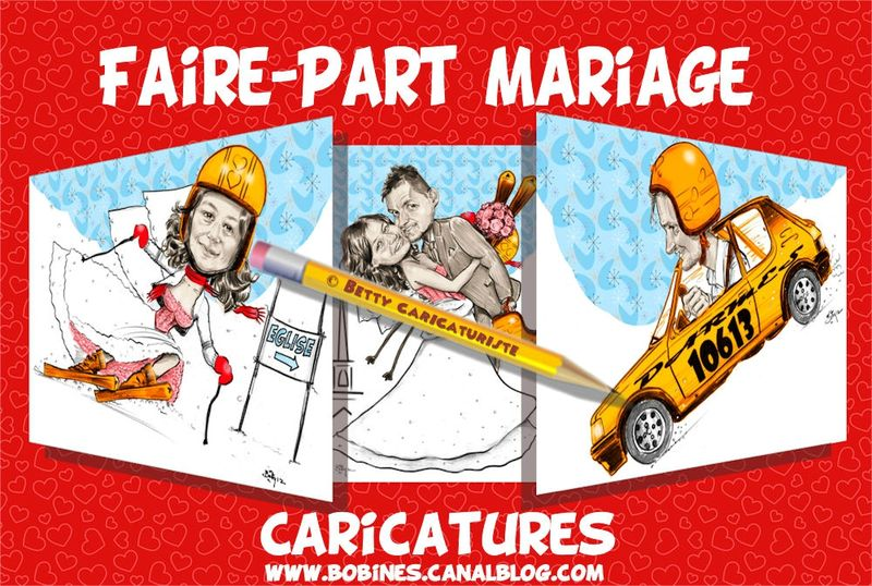 faire part mariage humoristique hiver ski et course rallye caricaturiste betty caricatures. Black Bedroom Furniture Sets. Home Design Ideas