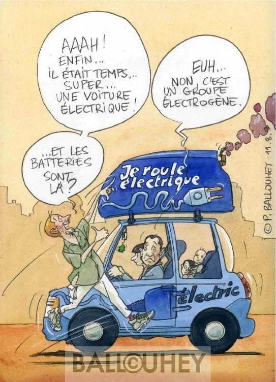 La voiture lectrique arrive pierre ballouhey - Dessin humoristique voiture ...