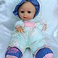 Poupée Doudou Chiffon Rayures Vert Et Blanc Fleurs Pieds Bleu Et Rose Visage Plastique <b>Cean</b> Toys 30 cm
