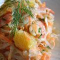 Salade de papaye verte à l'orange et aux crevettes marinées