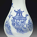 A blue and white pear-shaped vase, Transitional period, circa 1645-<b>1655</b>