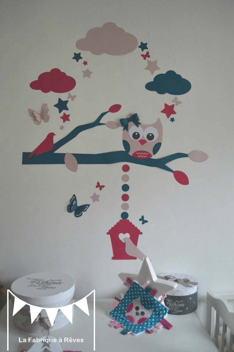stickers hibou chouette arbre nichoir oiseaux papillons toiles bleu canard p trole fuchsia rose. Black Bedroom Furniture Sets. Home Design Ideas