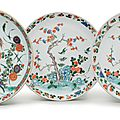 A group of threefamille vertesaucer dishes, Kangxi period (1662-1722)