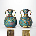 A rare pair ofcloisonnéenamel double-gourd vases, qianlong cast six-character seal marks and of the period (1736-1795)