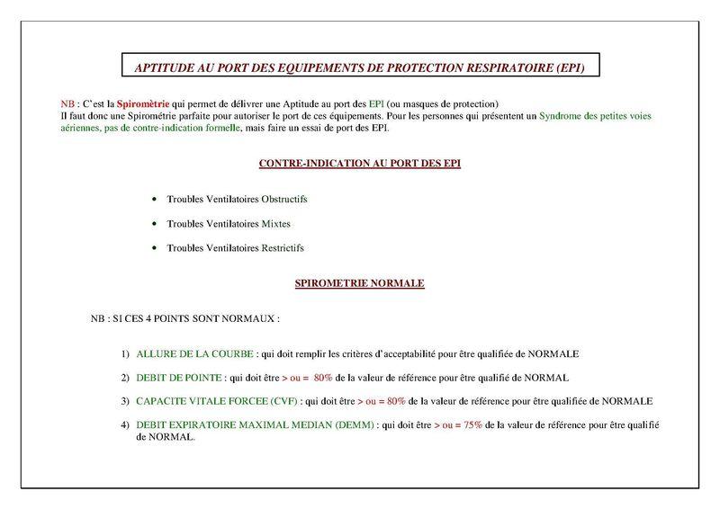 Aptitude et Contre-indication au Port des EPI